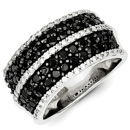 1.75 Ct Sterling Silver Black and White Diamond Ring