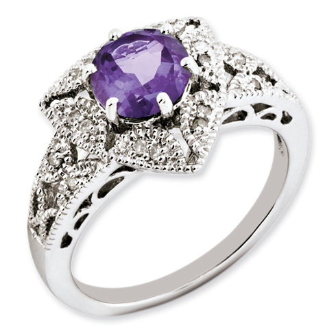 Sterling Silver 1.1 ct Amethyst and Diamond Ring
