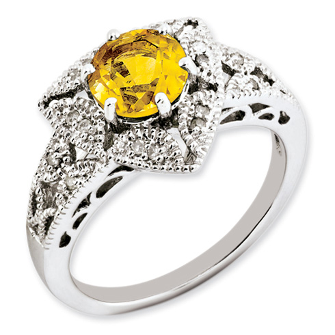 1.25 ct Sterling Silver Citrine and Diamond Ring