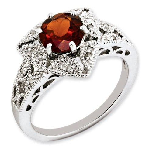 1.1 ct Sterling Silver Garnet and Diamond Ring