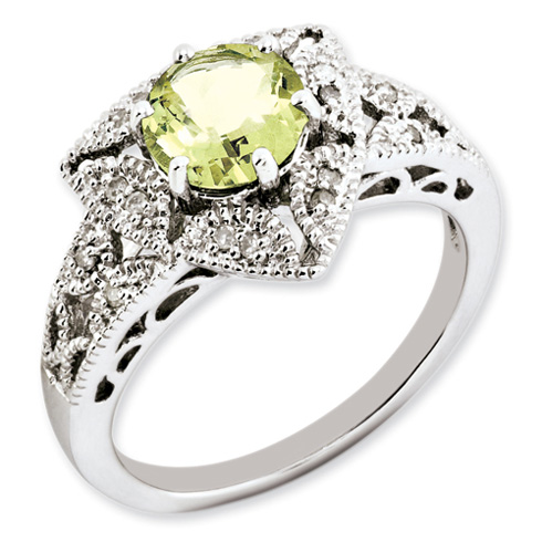 1.25 ct Sterling Silver Lemon Quartz and Diamond Ring