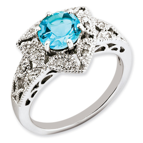 1.6 ct Sterling Silver Light Swiss Blue Topaz and Diamond Ring