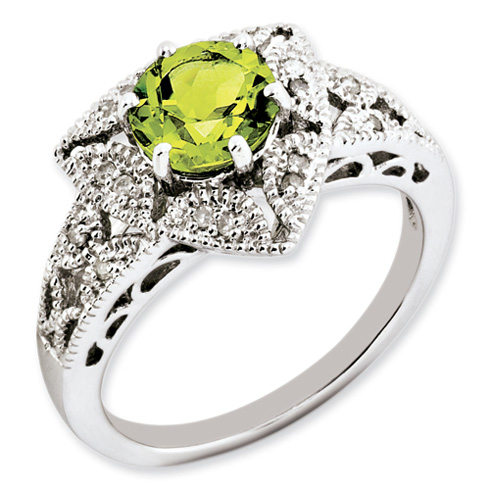 1.43 ct Sterling Silver Peridot and Diamond Ring