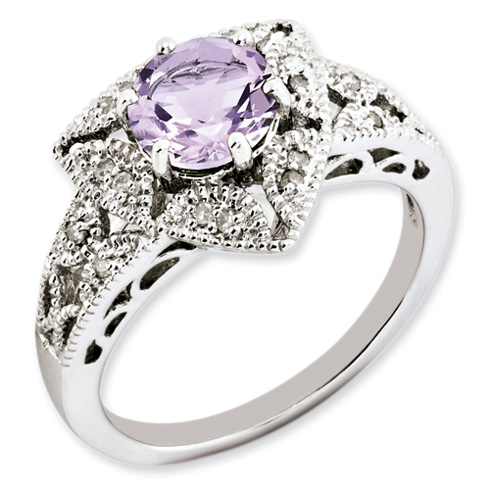 1.25 ct Pink Quartz and Diamond Ring Sterling Silver