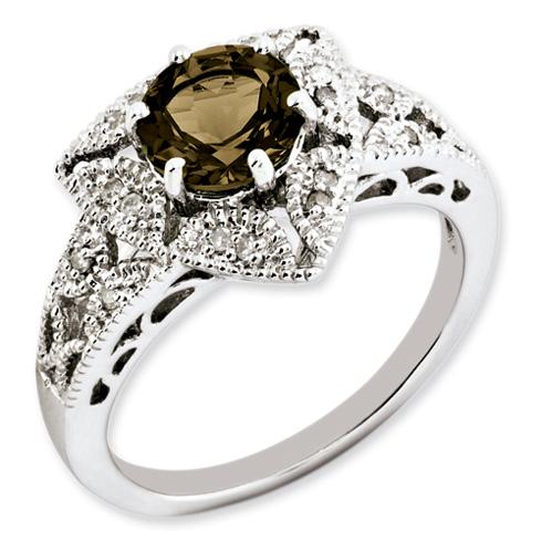 1.25 ct Sterling Silver Smoky Quartz and Diamond Ring