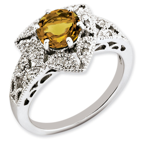 1.25 ct Sterling Silver Whisky Quartz and Diamond Ring