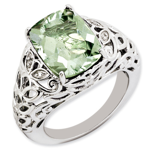 6.5 ct Sterling Silver Green Quartz and Diamond Ring