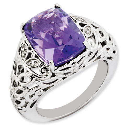 6 ct Sterling Silver Amethyst and Diamond Ring