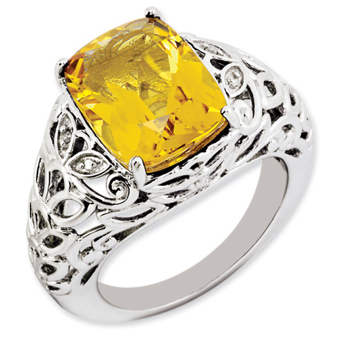 6.5 ct Sterling Silver Citrine and Diamond Ring