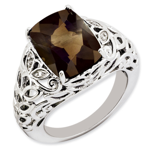 6 ct Sterling Silver Smoky Quartz and Diamond Ring