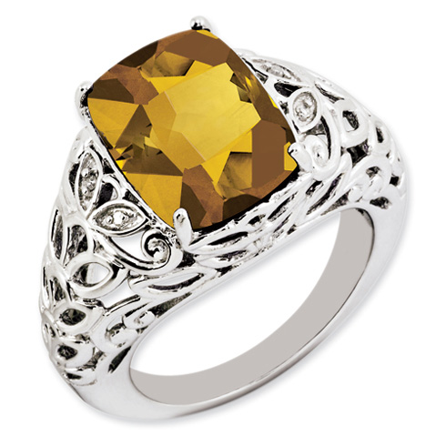 6 ct Sterling Silver Whisky Quartz and Diamond Ring