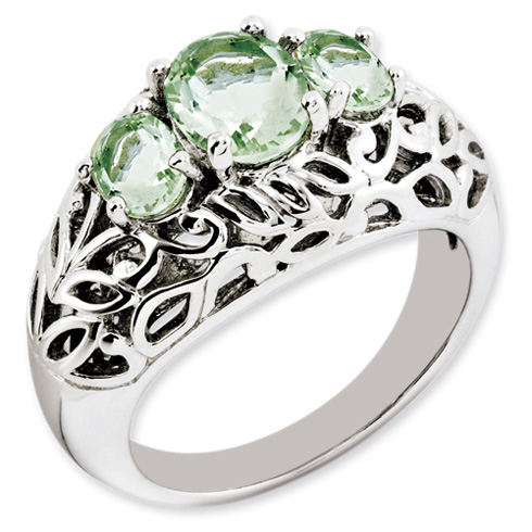 2 ct Sterling Silver Green Quartz Ring