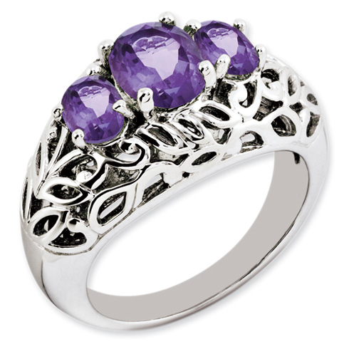 1.89 ct Sterling Silver Amethyst Ring