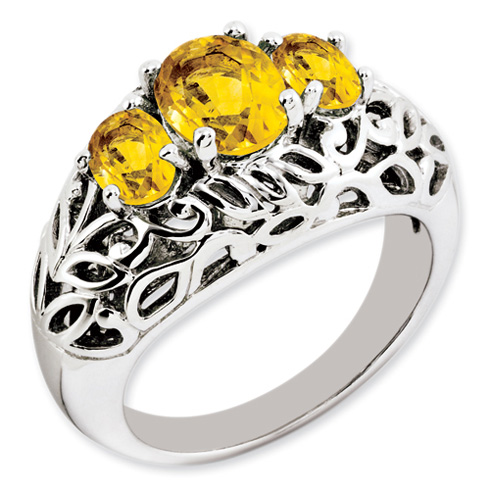 1.1 ct Sterling Silver Citrine Ring