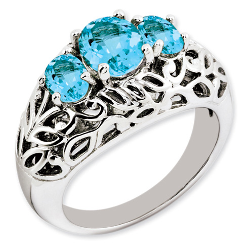 2.45 ct Sterling Silver Light Swiss Blue Topaz Ring