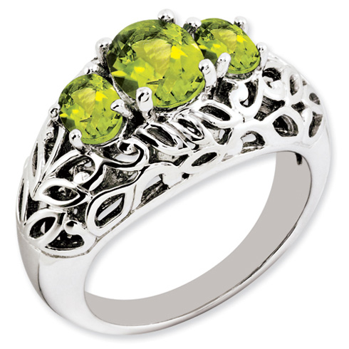 1.3 ct Sterling Silver Peridot Ring