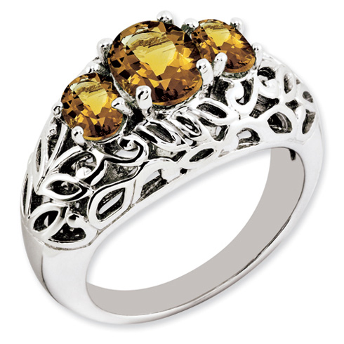 1.94 ct Sterling Silver Whisky Quartz Ring