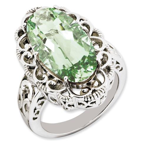 12 ct Sterling Silver Green Quartz Ring