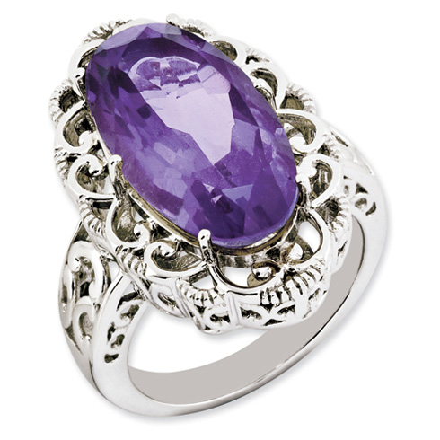 9 ct Sterling Silver Amethyst Ring