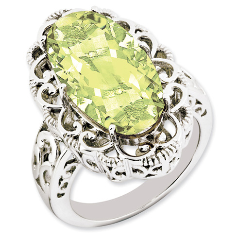Sterling Silver 12 ct Oval Lemon Quartz Ring with Scroll Design