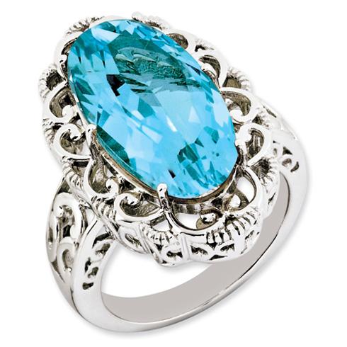 20 ct Sterling Silver Light Swiss Blue Topaz Ring