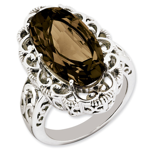 Sterling Silver 9 ct Oval Smoky Quartz Scroll Ring