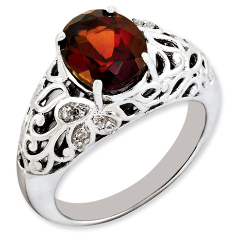Sterling Silver 3.5 ct Garnet and Diamond Scroll Ring