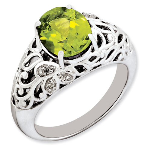 2.8 ct Sterling Silver Peridot and Diamond Ring