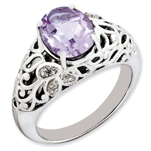 2.4 ct Sterling Silver Pink Quartz and Diamond Ring