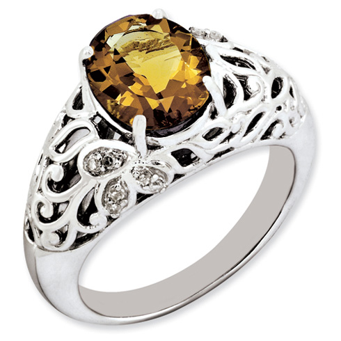 2.4 ct Sterling Silver Whisky Quartz and Diamond Ring