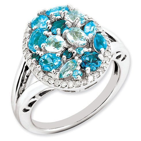 1.9 ct Sterling Silver Light Swiss Blue Topaz and Diamond Ring