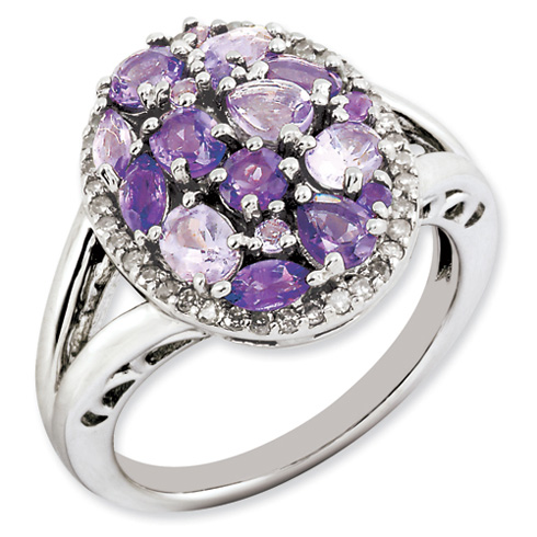1.5 ct Sterling Silver Pink Amethyst and Diamond Ring