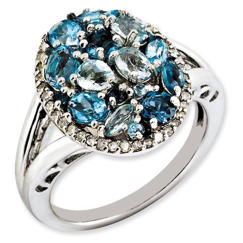 Sterling Silver Oval Rainbow and Diamond Ring
