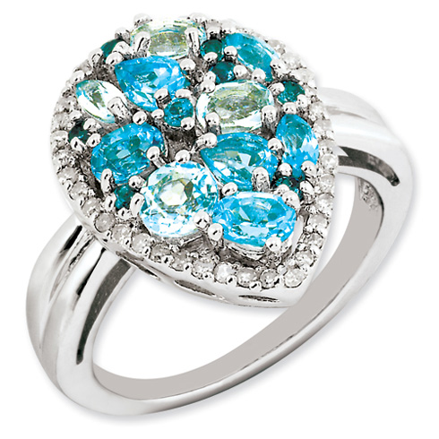 1.8 ct Sterling Silver Light Swiss Blue Topaz and Diamond Ring