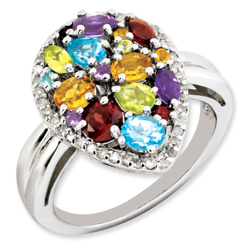 Sterling Silver Rainbow and Diamond Ring