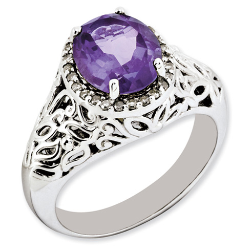 2.4 ct Sterling Silver Amethyst and Diamond Ring