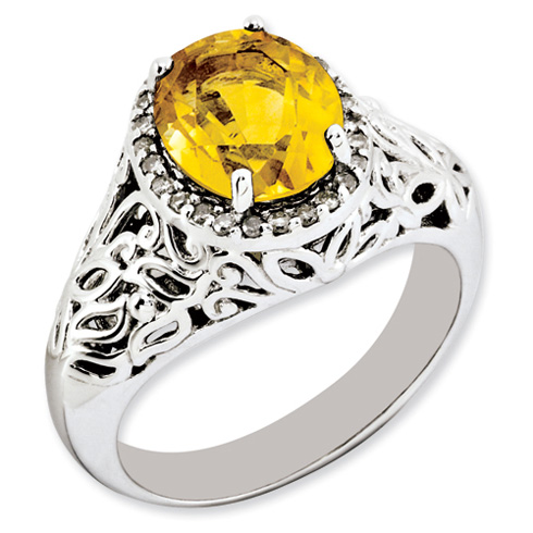 2.4 ct Sterling Silver Citrine and Diamond Ring