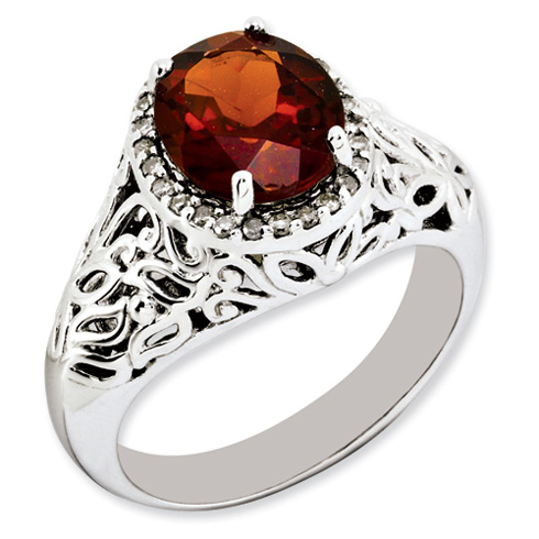 3.5 ct Sterling Silver Garnet and Diamond Ring