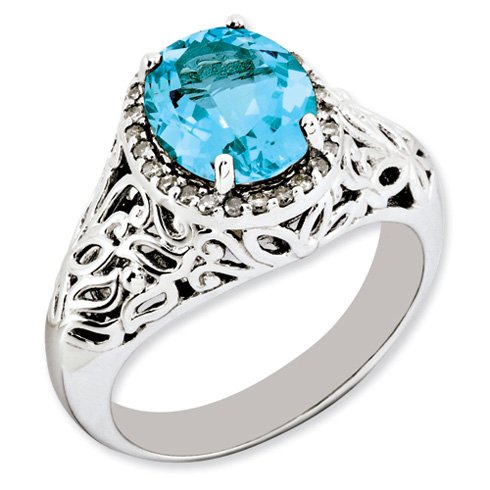 3.25 ct Sterling Silver Light Swiss Blue Topaz and Diamond Ring