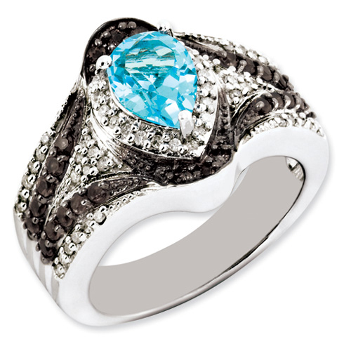 1.45 ct Sterling Silver Light Swiss Blue Topaz and Smokey Quartz and Diamond Ring