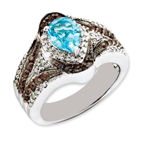 1.45 ct Sterling Silver Light Swiss Blue Topaz and Smokey Quartz and Diamond Ring
