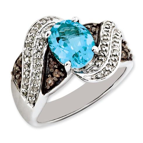 2.26 ct Sterling Silver Light Swiss Blue Topaz and Smokey Quartz and Diamond Ring