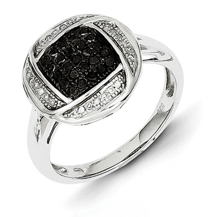 0.26 Ct Sterling Silver Black and White Diamond Ring