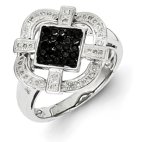 0.35 Ct Sterling Silver Black and White Diamond Ring