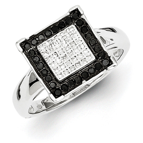 0.31 Ct Sterling Silver Black and White Diamond Ring