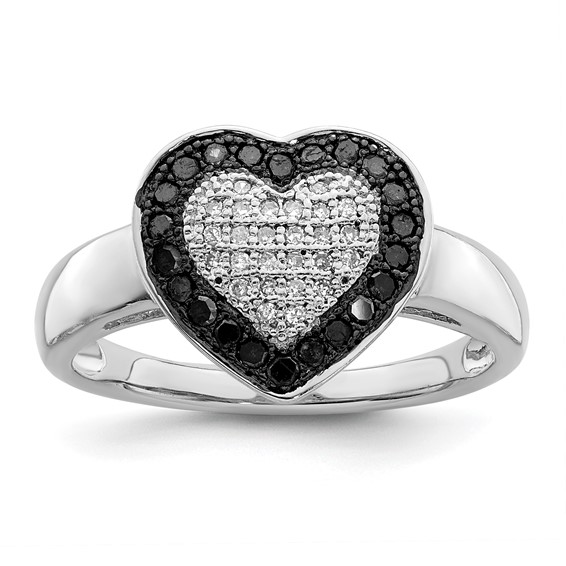 0.29 Ct Sterling Silver Black and White Diamond Heart Ring