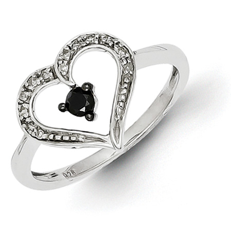 0.15 Ct Sterling Silver Black and White Diamond Heart Ring