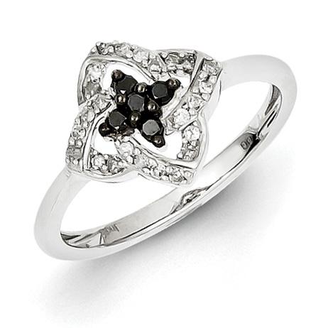 0.2 Ct Sterling Silver Black and White Diamond Pinwheel Ring