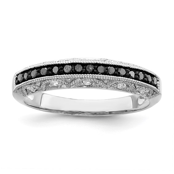 0.25 Ct Sterling Silver Black and White Diamond Ring