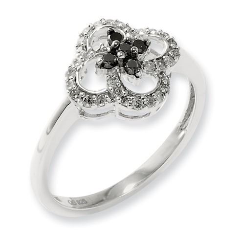 0.25 Ct Sterling Silver Black and White Diamond Clover Cluster Ring